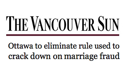 Anti-marriage fraud policy - Feds to cut